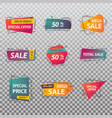 set of isolated price tags or discount signs vector image
