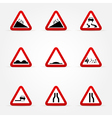 set of warnings road signs vector image vector image