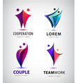 set two pair 2 people logos couple vector image vector image
