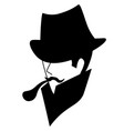 silhouette vintage man in hat with tobacco pipe vector image vector image