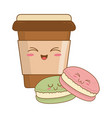 sweet cookie with coffee pastry kawaii characters vector image vector image