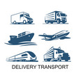 transport cargo delivery icon airplane ship with vector image vector image