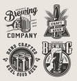 vintage monochrome brewery prints vector image vector image