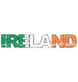 word ireland with irish national flag under it vector image vector image