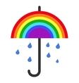 rainbow umbrella and falling rain vector image