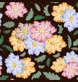 seamless flower pattern on dark background vector image