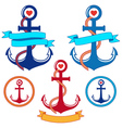 anchors with ribbons and frames set vector image