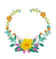 flowers set beautiful wreath elegant vector image