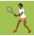mulatto girl playing tennis vector image