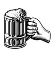 a a hand with a big glass vector image vector image