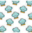 blue chef hat bakery kitchen seamless pattern vector image