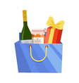 blue paper shopping bag with alcohol bottle jam vector image vector image