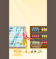 caucasian woman running with trolley in the store vector image vector image