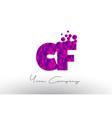 Cf c f dots letter logo with purple bubbles