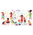 children drawing with crayon kindergarten child vector image
