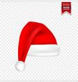 christmas santa claus hats with shadow set new vector image