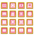 computer chips icons set pink square vector image vector image