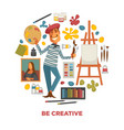 creative poster with artist and tools to paint in vector image vector image