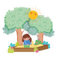 cute girl playing in the sand with trees vector image