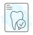 dental tooth report thin line icon stomatology vector image