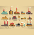 factory icons retro colors vector image vector image