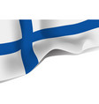 finland national waving flag isolated on white vector image vector image