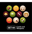 Flat icons set 44 - castle and wepon vector image vector image