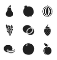 Fruits set icons in black style Big collection of vector image vector image