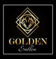golden emblem and in white frame on black vector image vector image