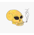 grunge skull smoke a cigarette vector image