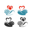 health donation charity logo or label hand vector image vector image