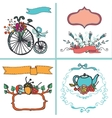 Holiday Doodle floral card setvintage Hand vector image