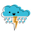 kawaii cloud with rain and thunderbolt in vector image vector image