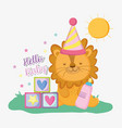 lion with feeding bottle and games to baby shower