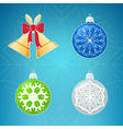 Merry Christmas Icons on Blue Background vector image