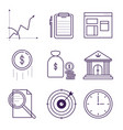 money and bank symbols object outline icons vector image vector image