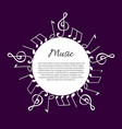 music note notation round wavy frame and text vector image vector image