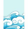 ocean wave in modern oriental style border vector image