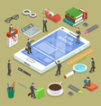 online uer manual flat isometric concept vector image