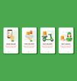 order and delivery snacks mobile banner finger vector image vector image