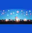 people silhouettes holding united states flags vector image