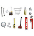 plumber service icons set on white background vector image vector image