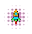 Rocket icon in comics style vector image vector image