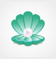 sea-green shell with a pearl inside vector image vector image