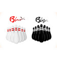 set pins skittles for bowling black and white vector image vector image