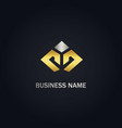 shape line business company gold logo vector image