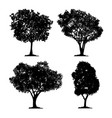 silhouette tree set isolated black forest vector image vector image