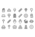sweets and candy icon set 12 line icon set vector image vector image