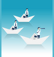 three businessmen acheive goal by telescope vector image vector image