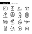 Travel and vacation thin line icon set vector image vector image